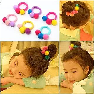 Lovef 6 Pcs furball pompom Ball Elastic Hair Band gum Ponytail Holder Girls Hair Clip Headband Hair Accessories Gift