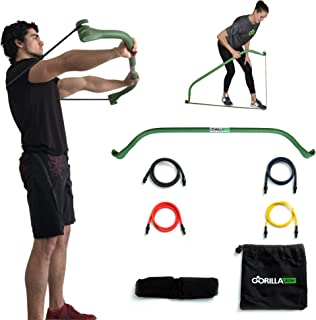 Gorilla Bow Portable Home Gym Resistance Band System | Weightlifting & HIIT Interval Training Kit | Full Body Workout Equipment