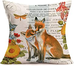 Asamour Retro Adorable Animals and Beautiful Green Plant Series Cotton Linen Throw Waist Pillow Case Cushion Cover Quotes Decorative Square Home Farmhouse Pillow Sham 18x18 Inches (Fox Couple)