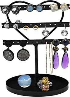 ARAD 3 Tier Heart Shaped Black Earring Holder and Ring Tray