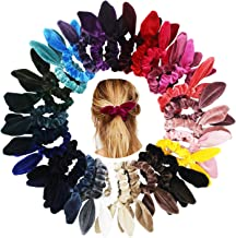 SUSULU Velvet Hair Scrunchies Hair Ties with Knotted Bow Bunny Ear Scrunchy Bobbles Elastic Hair Bands Pack of 30 Mixed Colors