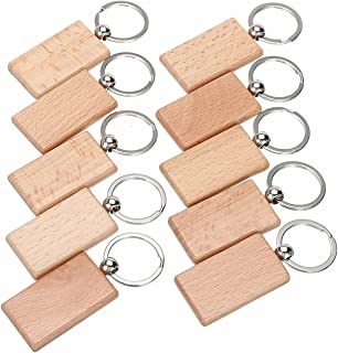lehom Wooden Key Chain with Metal Key Ring 10 Pack Key Rings Blank Wood Keychain DIY Rectangle Key Chain Craft Gift