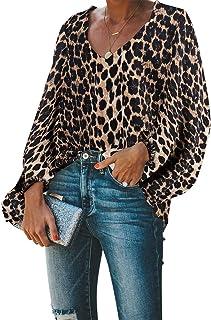 BELONGSCI Women`s Casual Sweet & Cute Loose Shirt Balloon Sleeve V-Neck Blouse Top