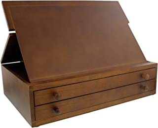 US Art Supply Walnut 2-Drawer Adjustable Wooden Storage Box with Fold Up Solid Drawing Easel