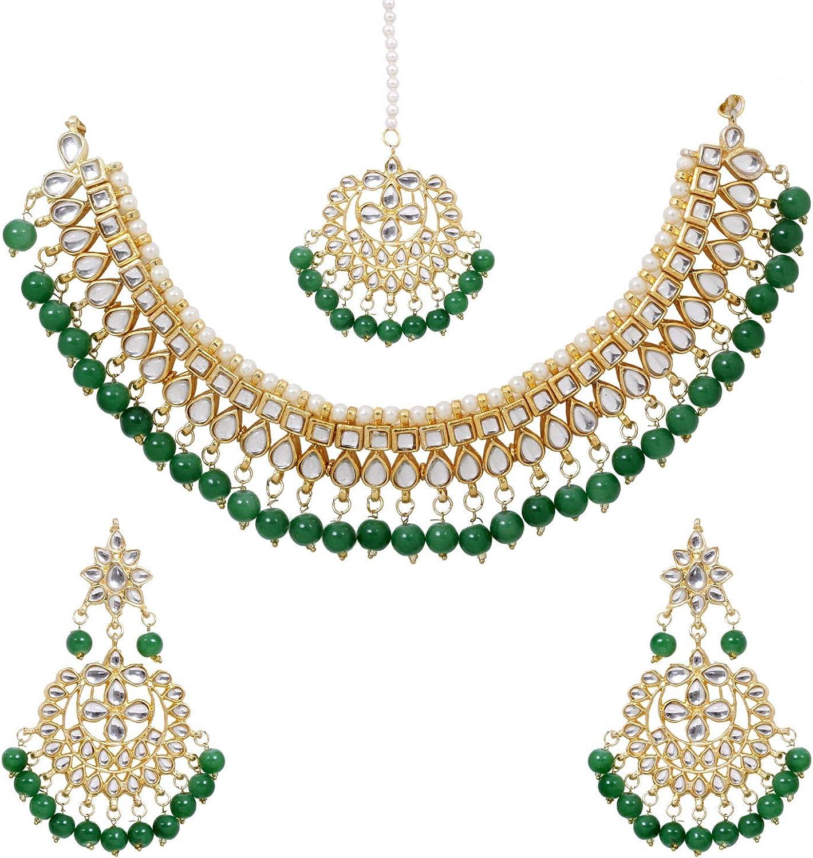 SANARA Indian Bollywood Gold Plated Green Pearl Kundan Choker Necklace Earring Set Women Wedding & Party Wear Jewelry