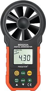Proster Anemómetro Digital LCD Retroiluminada Viento Medidor de Volumen de Aire Medidor de Viento con Botones Multifunción para Windsurf Kite Flying Vela Surf Pesca