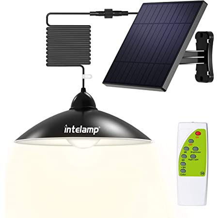 Intelamp Solar Pendant Lights Solar Shed Lights by Remote Control Solar Powered Indoor & Outdoor Lights Hanging Lights for Storage Room Home Yard Porch Balcony