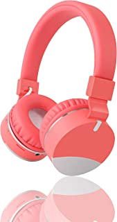 Kids Headphones,Gorsun Wireless Bluetooth Headphones for Kids with Microphone Over Ear Foldable Earphone Children Stereo Headset for Boys Girls Cellphone TV PC Tablets (Pink)