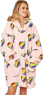 Dreamscene Rainbow Oversized Hoodie Blanket Sweatshirt Soft Sherpa Heart Fleece Throw Cosy Wearable Hooded Blanket Big Jum...