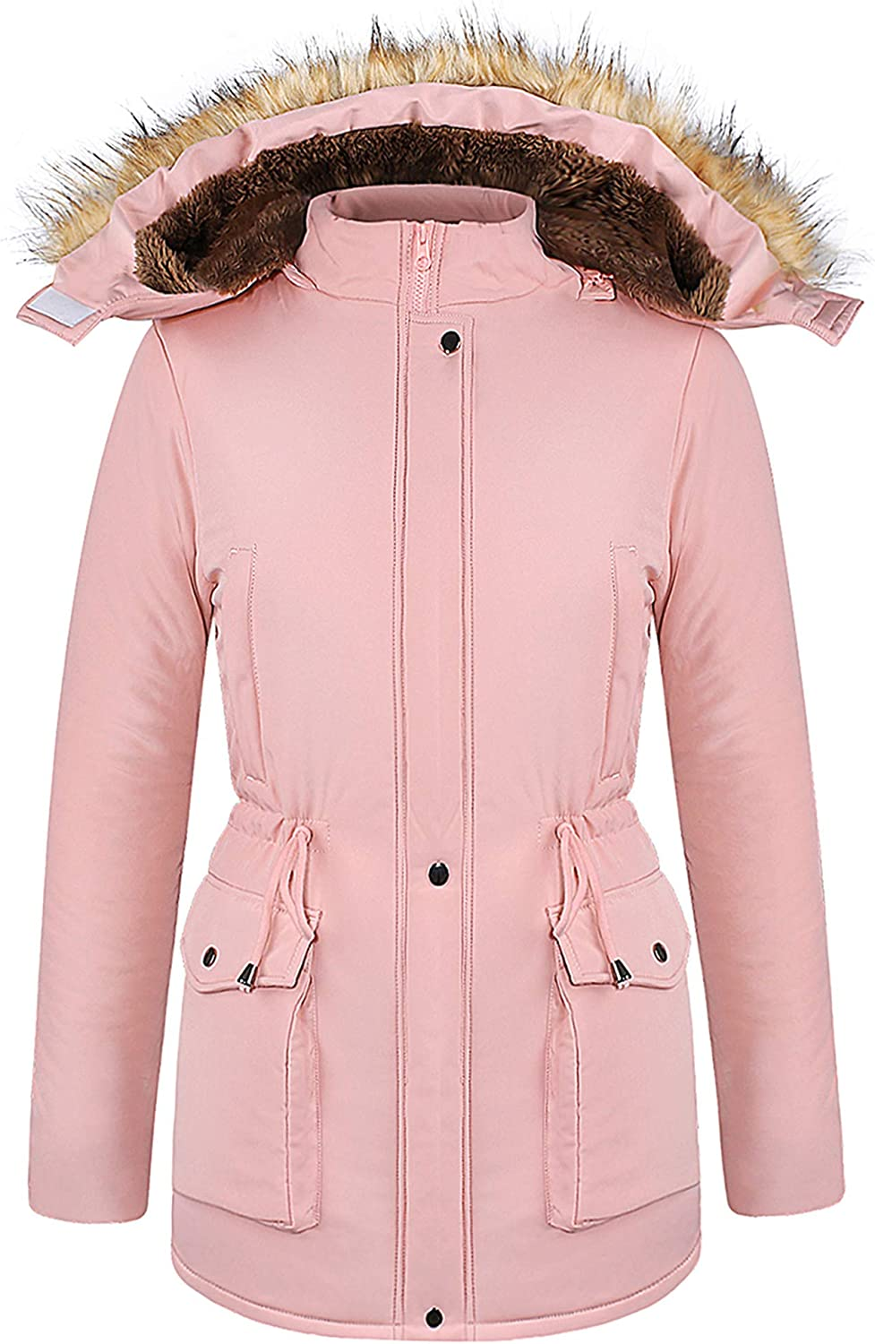 4THSEASON Womens Winter Warm Coat Thickening Cotton-Padded Parkas with Hood