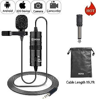 19 میکروفون Lavalier پا برای Podcast iPhone Canon، میکروفون ضبط کندانسور BOYA Omnidirectional برای Nikon Sony iPhone 8 8 به علاوه 7 6 6s Plus دوربین فیلمبرداری DSLR ضبط صدا صوتی ضبط صوت یوتیوب Youtube مصاحبه ویدیو