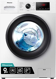 Hisense WFPV9014EM - Lavadora con Vapor, Carga Frontal 9 Kg, 1200 RPM, 16 Programas, Control de balanceo inteligente del t...