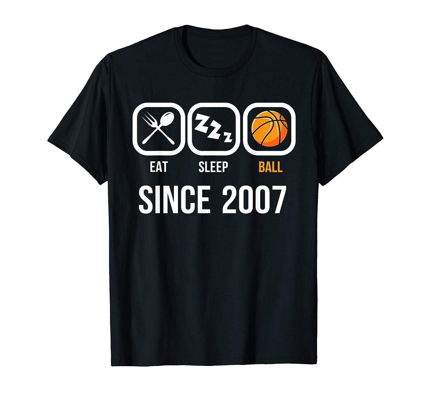 Eat Sleep Basketball Since 2007 T-Shirt 12th Birthday Gift