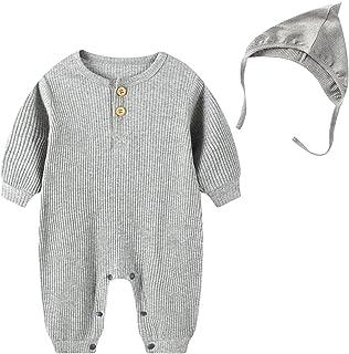 مولود جديد طفل صبي بنت محبوك قطن رومبير كم طويل أزرار بذلة قبعات ربيع خريف ملابس (Color : Gray, Size : 66CM)