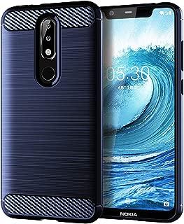 LiXiongBao Case for Nokia 5.1 Plus Case,Nokia X5 Case,Shock-Absorption Navy Blue Carbon Fiber Flexible TPU Rubber Soft Silicone 360 Full Body Protective Cover for Nokia 5.1 Plus/Nokia X5