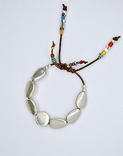 Bracciale regolabile in zama argento e pelle donna