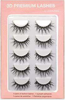 JOSALINAS Crisscross Wispy False Eyelashes Extensions 5 Pairs Glamour Fake Mink Lashes, Winter