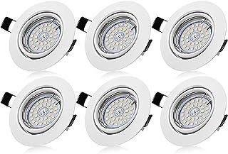 Bojim Lot de 6 Spots LED Encastrables Orientables Dimmables, Luminaires Encastrés GU10 Blanc Neutre 4500K 6W Eqv.54W Lumiè...