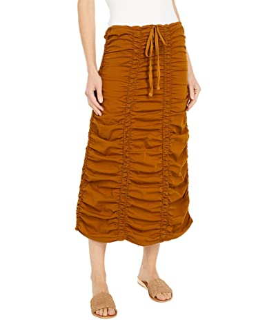 XCVI Stretch Poplin Double Shirred Panel Skirt (Walnut) Women