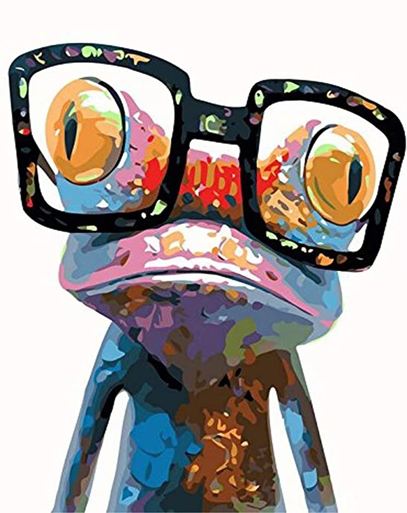 DIY 5D Diamond Painting by Number Kit, LPRTALK Full Drill Diamonds Painting Animal Sunglasses Frog Rhinestone Embroidery Cross Stitch Supply Arts Craft Canvas Wall Decor 10X12 inches
