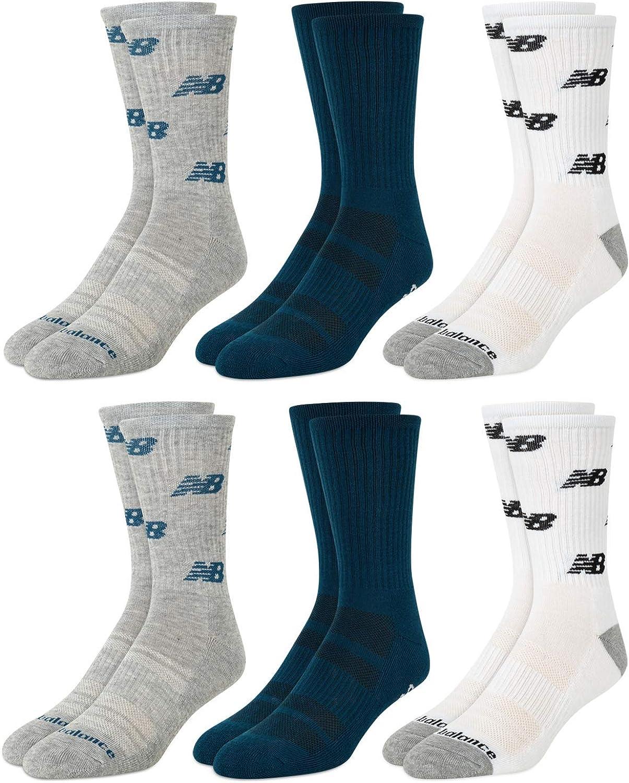 New Balance Men's Moisture Wicking 6 ! Super beauty product restock quality top! Pack mart Cushioned Socks Crew