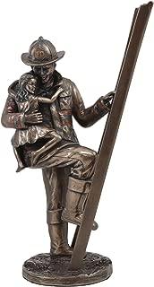 Ebros Men Of Duty Fireman Fire Fighter Hero Saving Child Descending From Ladder Figurine For Fire Marshall Heroic Deeds Desktop Decorative Home Decor Statue