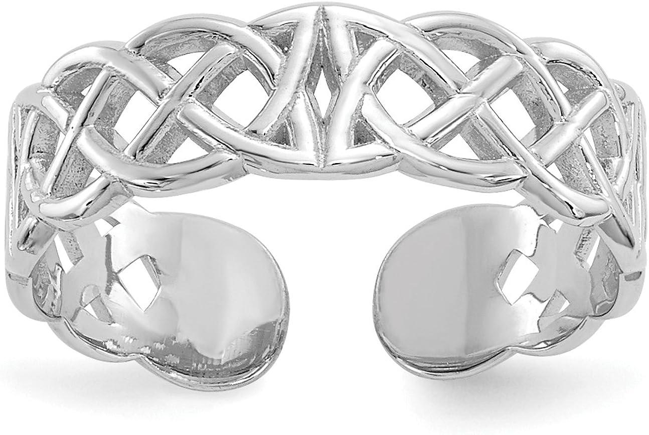 14k White Gold Polished w/ Design Toe Ring