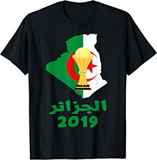 Flag Algeria Soccer Jersey Football CUP Arabic Calligraphy T-Shirt