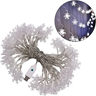 XUNATA 33ft LED String Lights, USB Powered Indoor Outdoor Waterproof Fairy Snowflake String Light Party Lighting for Patio...