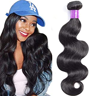 AUTTO Hair Brazilian Virgin Hair Body Wave Hair One Bundle 20inch 100% Unprocessed Virgin Human Hair Extension Weave Weft Natural Color (100+/-5g)/bundle Can be Dyed and Bleached