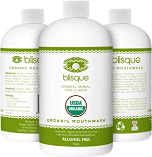 Blisque Organic Mouthwash - With Aloe Vera, Clove and Eucalyptus Essential Oil and Licorice Root- Natural Alcohol Free Mouthwash - Fluoride and Glycerin Free - Oral Rinse for Healthy Gums - Vegan