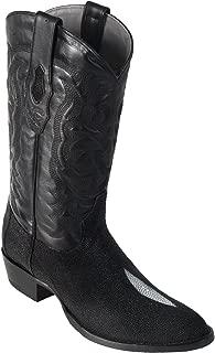 LOS ALTOS BOOTS Mens Stingray Round Toe Western Cowboy Boot Black