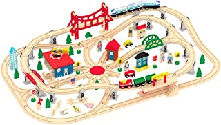 Wooden Train Set – Deluxe City Train Tracks Wooden Railway Track for Toddlers - 130 pcs