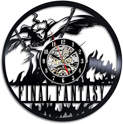 BuTeFang Vinyl Wall Clock Hollow Black gum record wall clock Final Fantasy vinyl clock handmade modern