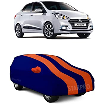 ZANTEX Presents Water Resistant Fully Elastic Car Body Cover for Hyundai Xcent Tripple Stiched with Mirror Pockets_Dual Orange Stripes