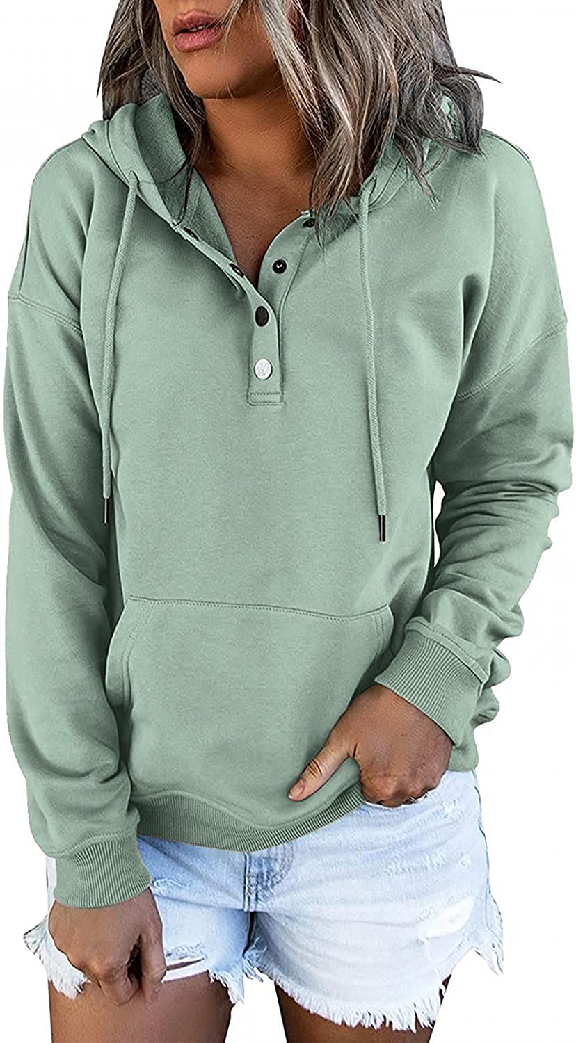 Pullover for Womens Button Down Hoodies Drawstring Hooded Pocket Casual Long Sleeve Shirts V Neck Sweatshirts