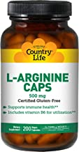 Country Life L-Arginine 500 mg with Vitamin B6-200 Vegetarian Capsules - May Help Support Immune Health - Aids Utilization...