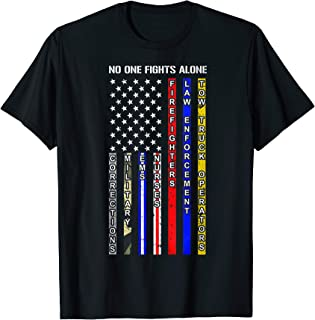 Best Gifts For American Fire Fighter Patriot Red Line Rescue T-Shirt