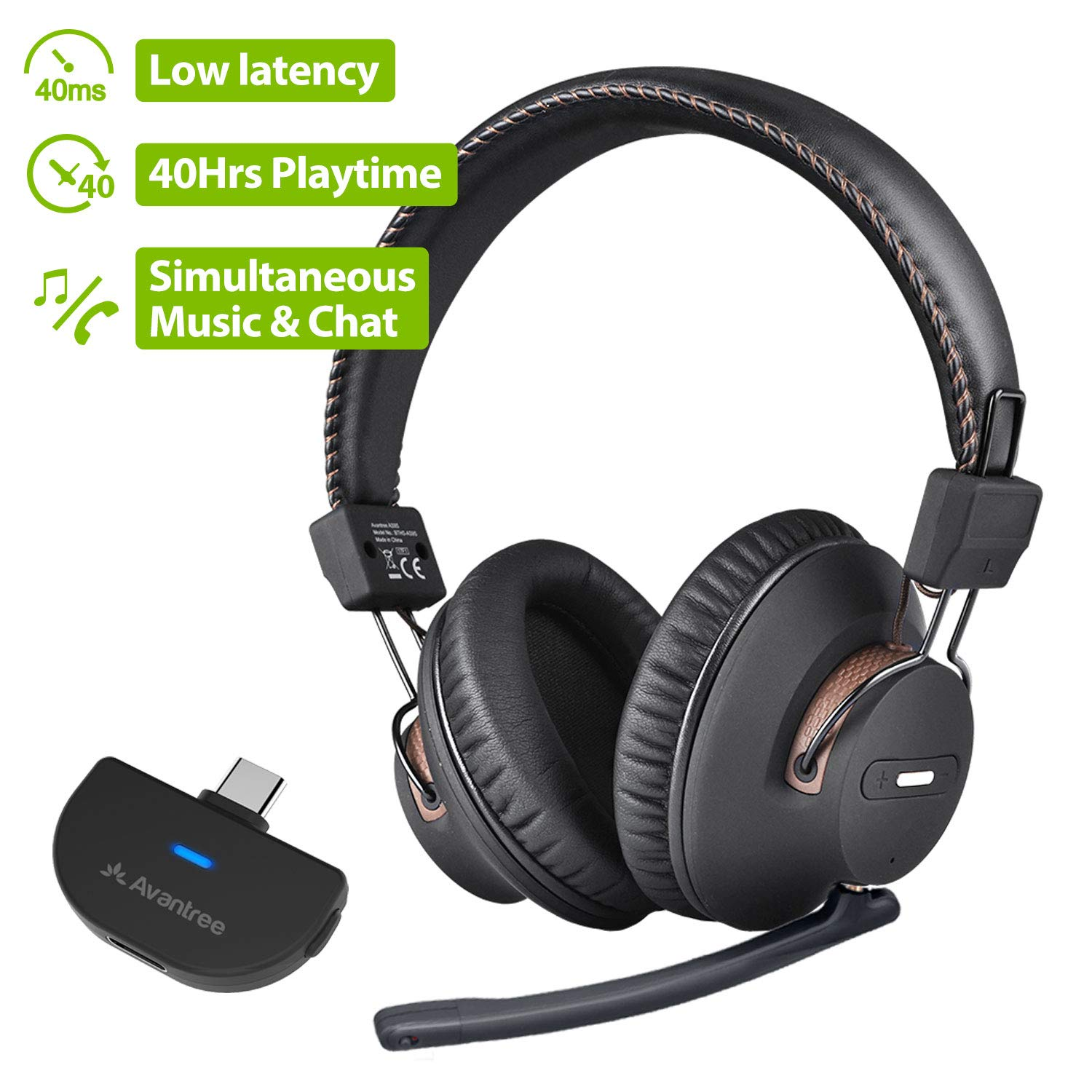 Amazon Com Avantree C519m 40hrs Play Time Wireless Gaming Headphones Set For Nintendo Switch Pc Desktop Computer W Bluetooth 5 0 Usb C Audio Transmitter Plug Play Chat Music Simultaneously No Delay Electronics