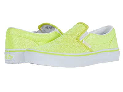 Vans Kids Classic Slip-On (Big Kid) ((Neon Glitter) Yellow/True White) Girls Shoes