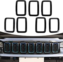 CheroCar Front Grill insters Cover for Jeep Grand Cherokee 2017-2020, Exterior Accessories, Black, 7pcs/Set