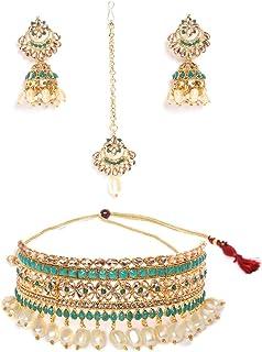 Zaveri Pearls Green Stones Traditional Choker Necklace, Earring & Maangtikka Set For Women-ZPFK9578