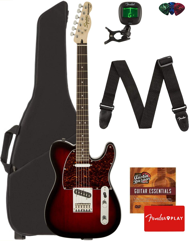 Cheap Fender Squier Standard Telecaster Guitar - Laurel Fingerboard Antique Burst Bundle with Gig Bag Tuner Strap Picks and Austin Bazaar Instructional DVD Black Friday & Cyber Monday 2019