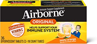 Vitamin C 1000mg (per serving) - Airborne Zesty Orange Effervescent Tablets (36 count in a box), Gluten-Free Immune Suppor...