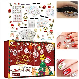 Jul nagelklistermärke, adventskalender 2021 nagelklistermärke 3D julmönster nagelklistermärke självhäftande klistermärke t...