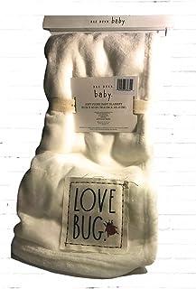 Rae Dunn Soft Plush White Baby Blanket Love Bug 30 x 40
