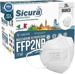 FFP2 mask CE gecertificeerd Gemaakt in Italië. Maskers BFE ≥99%. set van 20 mondkapjes ffp2 UV-C GESANITISEERD en individu...
