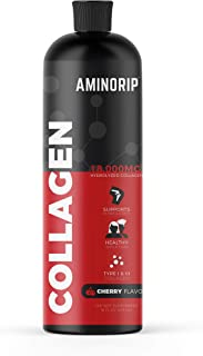 Liquid Collagen Hydrolyzed by Aminorip, 18,000mg, 16 oz, No Fat, Sugar Free, No Carbs. Supports Bones, Joints, Skin & Hair, (Cherry) Made in USA