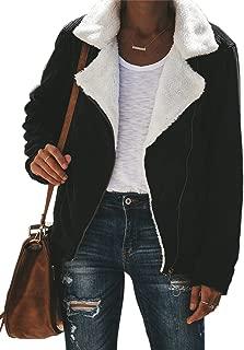 Asyoly Womens Faux Fur Jacket Fur Jackets for Women Outwear with Pockets Lapel Zip Up Fuzzy Fleece Jacket