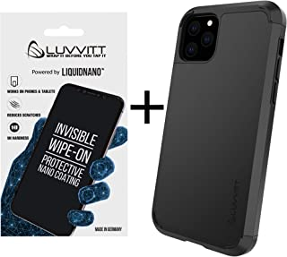 Luvvitt Ultra Armor Case + LiquidNano Glass Screen Protector + Removable Metal Plate for Magnetic Holder (car Phone Mount Cradle is not Included) Designed for Apple iPhone XI 11 Pro 5.8